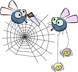 A cartoon picture of mosquitoes cutting a spiders web with a saw